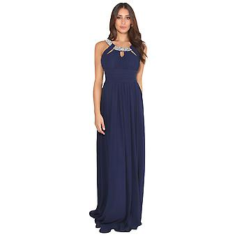 KRISP Diamante Neck Chiffon Maxi Dress