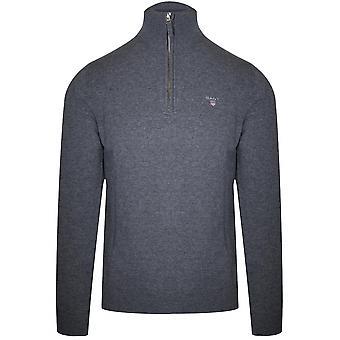 Gant GANT superfeine Lammwolle Half-Zip Sweatshirt grau