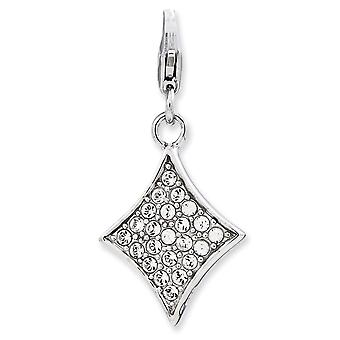 925 Sterling Silver Reversible Rhodium-plaqué Fancy Lobster Closure Enameled 3-d Diamond With Lobster Clasp Charm