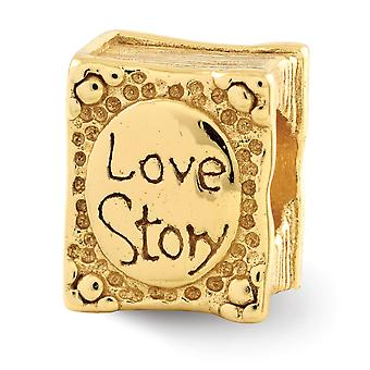 925 Sterling Silver Polished Gold-Flashed Reflections Love Story Book Bead Charm