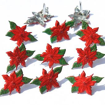Broderie anglaise prise forme Brads 12 Pkg Poinsettia Qbrd2 288