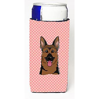 Checkerboard Pink German Shepherd Ultra Beverage Insulators for slim cans BB1211MUK