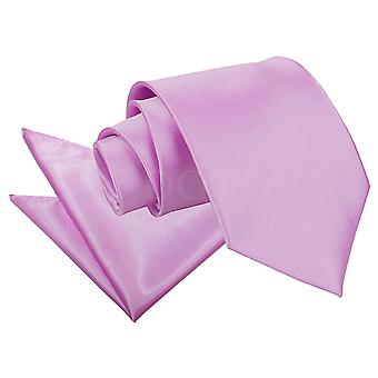 Men's Plain Lilac Satin Tie 2 pc. Set