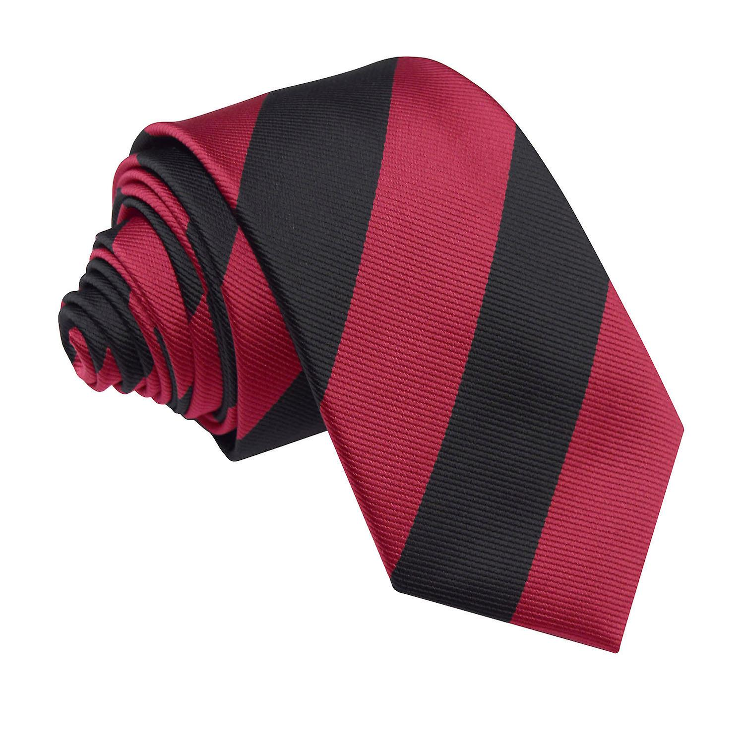 Striped Burgundy & Black Slim Tie