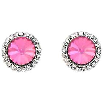 Clip On Earrings Store Classic Rose Pink & Clear Crystal Circle Clip On Earrings