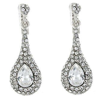 Clip On Earrings Store Silver & Clear Swarovski Crystal Tear Drop Pendant Clip o