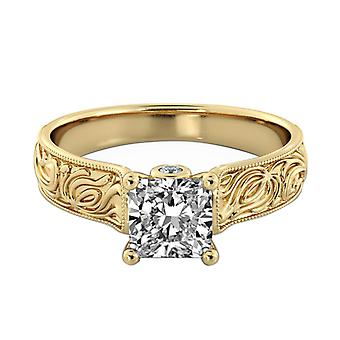 1.81 Carat H SI2 Diamond Engagement Ring 14K Yellow Gold Solitaire w Accents Filigree Princess