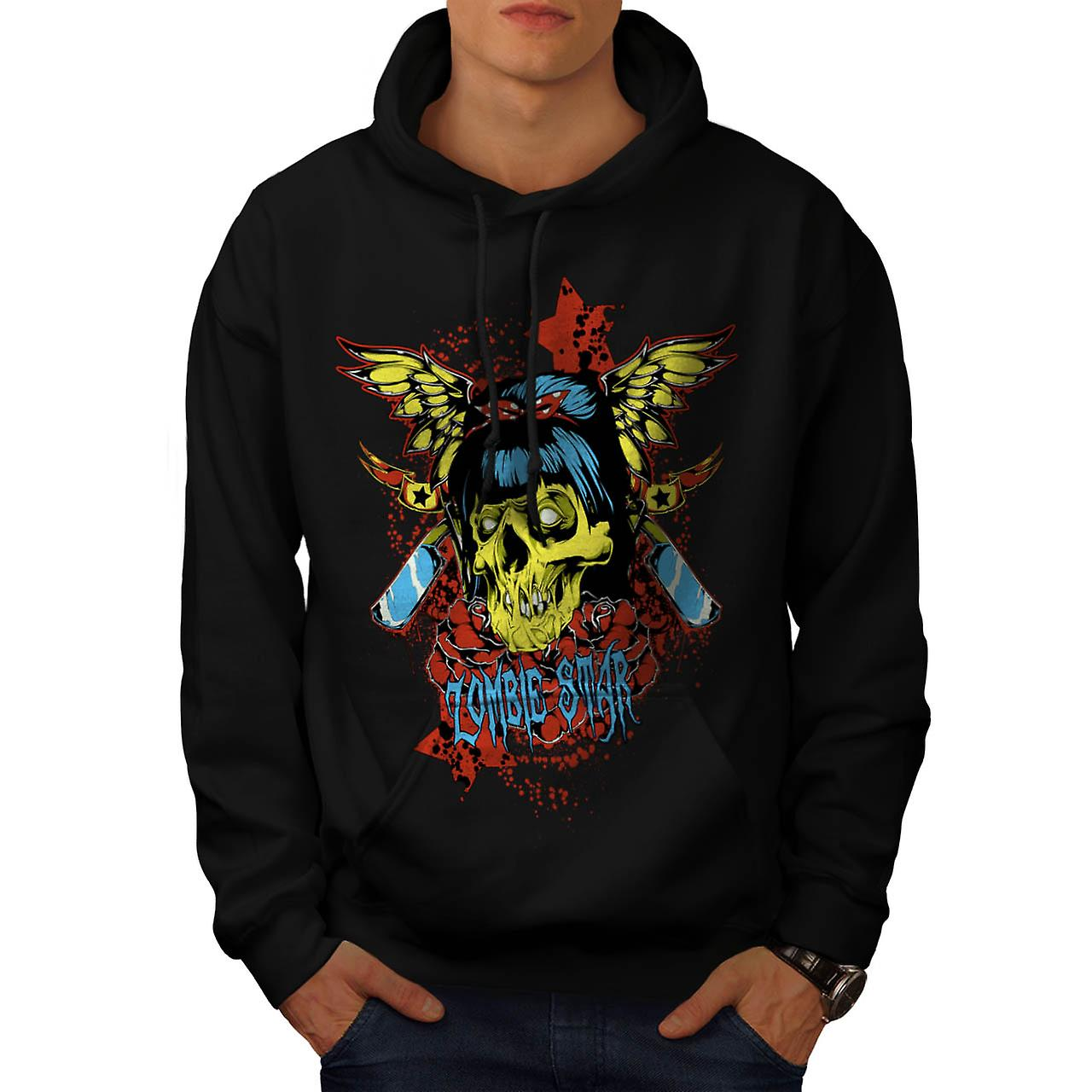Zombie Star Horror Monster Skull Men Black Hoodie | Wellcoda