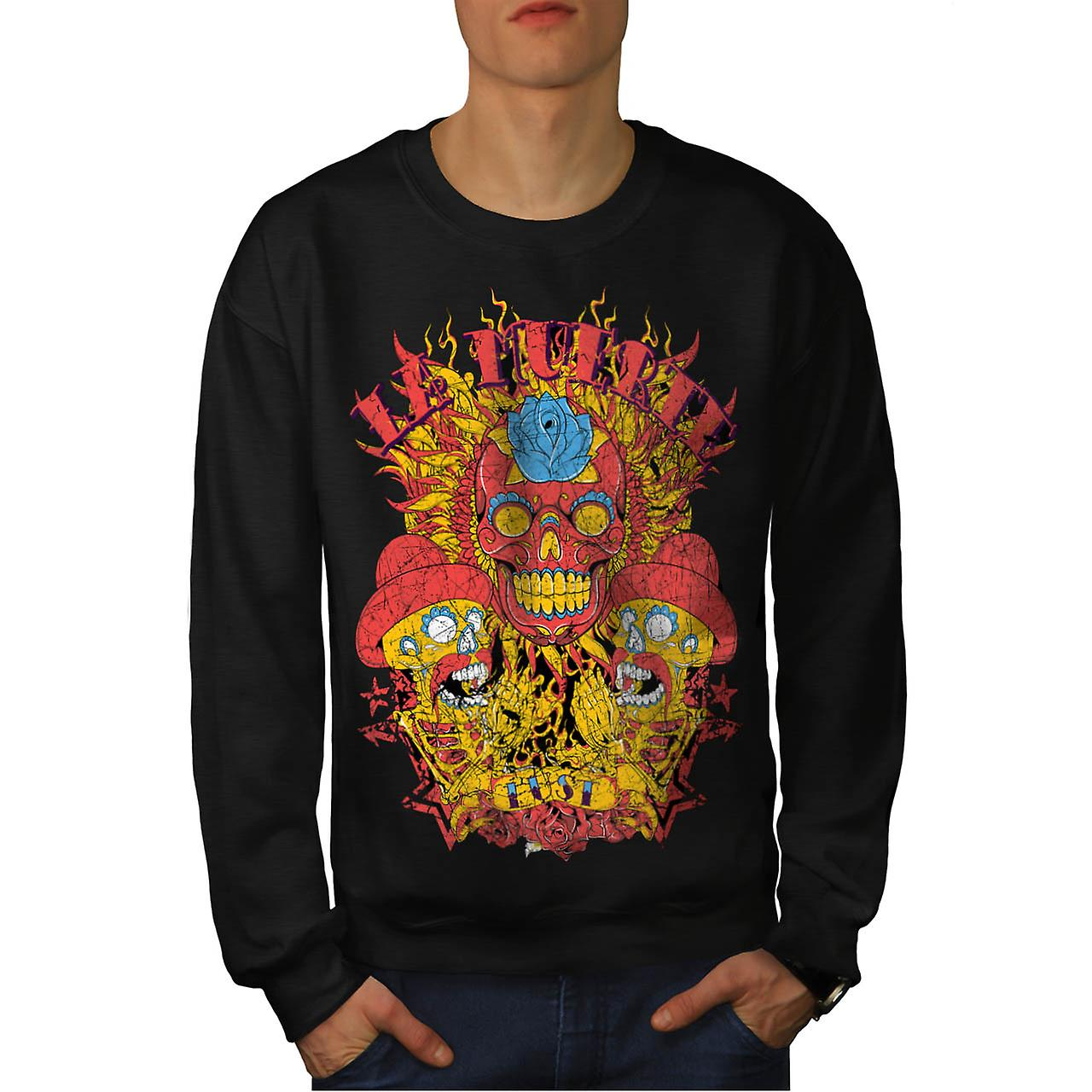 Muerte Lust Skull Hat Mexican Men Black Sweatshirt | Wellcoda