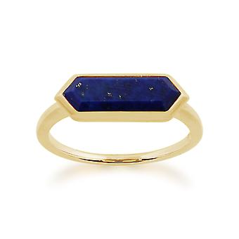 Gemondo 925 Gold plattiert Sterling Silber 1,50 ct Lapislazuli hexagonalen Prisma Ring
