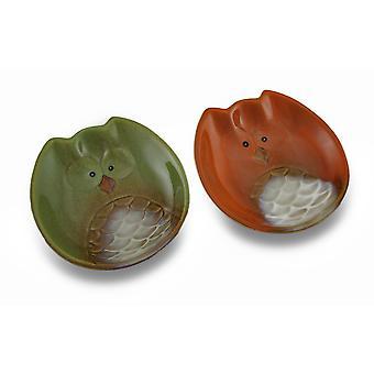 Set of 2 Harvest Owl Ceramic 5 1/2 Inch Diameter Dessert Dishes