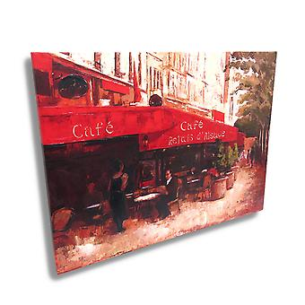 French Sidewalk Cafe Canvas Wall Art Print Painting