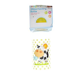 First Steps 250ml Baby Feeding Bottle With Silicone Teat & Yellow Lid – Cow