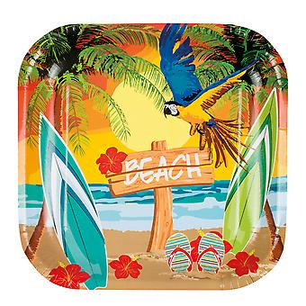 Hawaiian Pack of 6 Paper Plates Beach Party Tableware Supplies