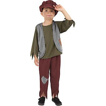 Poor Victorian boy costume with top, trousers and hat