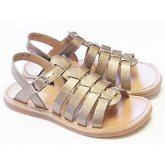Pom D'Api Plagette Strap Sandals In Taupe Patent Leather