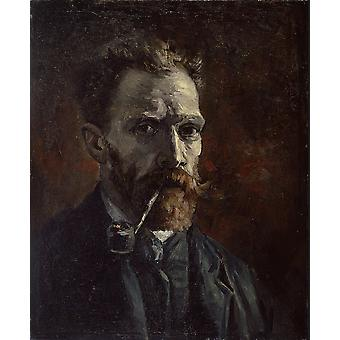 Vincent Van Gogh - Self Portrait with Pipe, 1886 Poster Print Giclee
