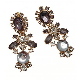 W.A.T Gold Crystal Statement Earrings