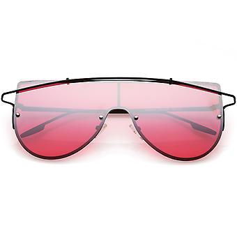Futuristic Rimless Shield Sunglasses Metal Crossbar Colored Mono Lens 64mm