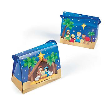 12 Christian Nativity Christmas Treat & Gift Boxes with Cord Handle