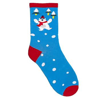 RJM Ladies Christmas Socks Bright Blue Polar Bear Size UK 4-7