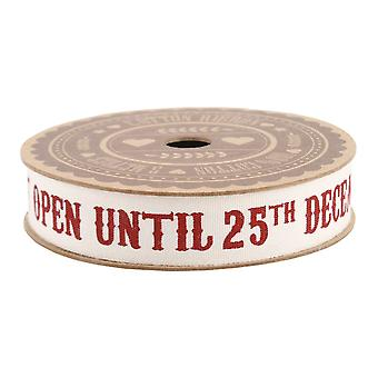 'Do Not Open Until 25th December' 5M Cotton Ribbon Wrap Vintage Style Craft