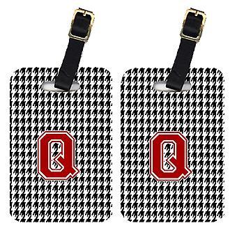 Pair of 2 Monogram - Houndstooth Black Initial Q Monogram Initial Luggage Tag