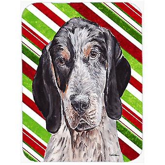 Blue Tick Coonhound Candy Cane Christmas Mouse Pad, Hot Pad or Trivet