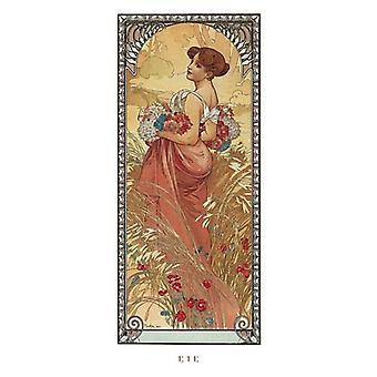 Stampa del manifesto di ete 1900 di Alphonse Mucha (9 x 20)