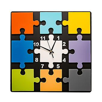 Square Jigsaw Pieces Wall Mounted Clock - Multicoloured