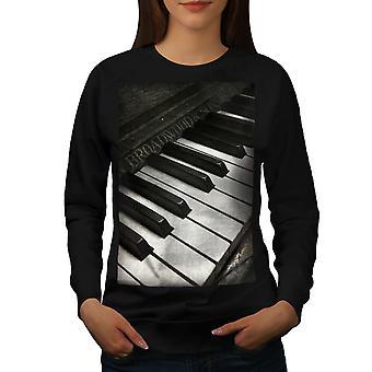 Vintage Old Piano Women BlackSweatshirt | Wellcoda