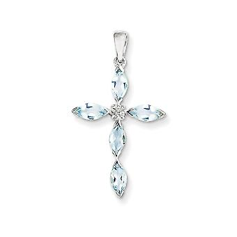 925 Rhodium Flashed Silver Marquise Aquamarine and Diamond Cross Pendant Charm - 30mm