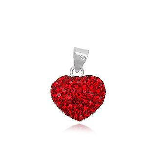Red Crystal heart pendant and Silver 925