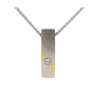Bicolor Golden mokume pendant with diamond