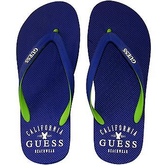 Guess Classic Logo Rubber Flip Flops, Royal Blue