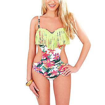 Boutique, Ladies Tropical Floral Cut Out Side Swimsuit with Tassels, UK 8
