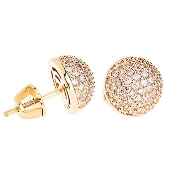 Iced out bling micro pave earrings - BALL 10 mm gold