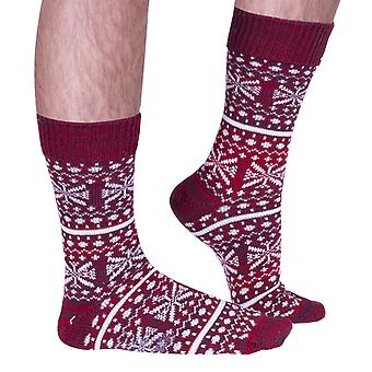 The Christmas Isle luxury wool boot sock in red | Made in Wales by Corgi