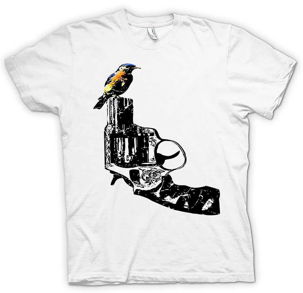 Womens T-shirt - Kingfisher On Pistol - Cool Gun Design