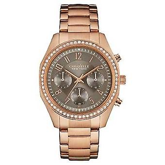 Caravelle New York kvinners Rose Gold Crystal Chronograph 44L 195 Watch