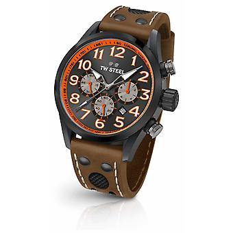 TW Steel Coronel Dakar Limited Edition Brown Leather Strap Black Dial TW975 Watch