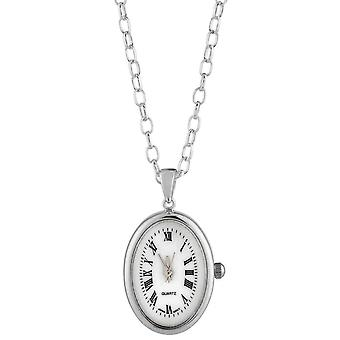Woodford Sterling Silver Oval Pendant Watch - Silver