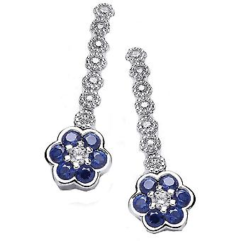 Cavendish French Pansy Drop Earrings - Silver/Blue