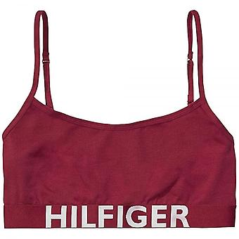 Tommy Hilfiger Women Bold Cotton Bralette, Beetroot Red, Large