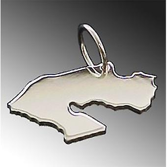 Trailer map DJIBOUTI necklace solid 925 Silver