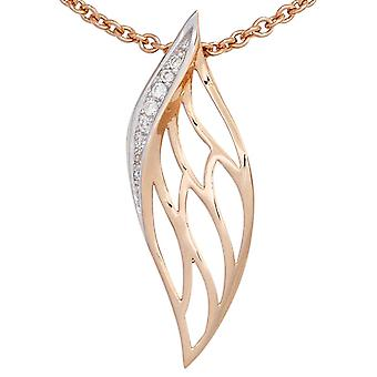 Pendants 585 gold part rhodium plated pink gold 8 diamond brilliant 0, 05 ct.
