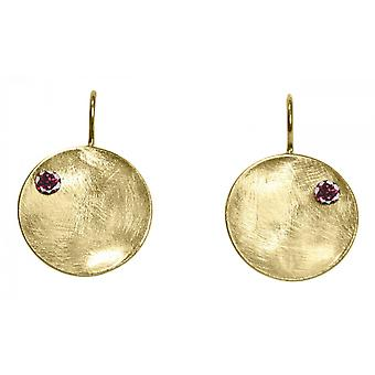 Ladies earrings 925 silver plated Bowl garnet red 3 cm