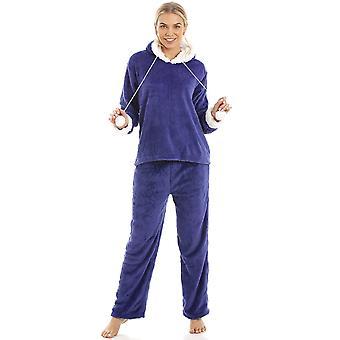Камиль роскошь синий супермягкая флис с капюшоном для пижамы набор