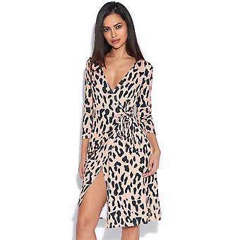 Leopard omlottklänning