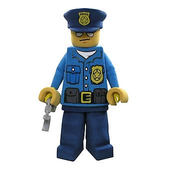 mascot SPOTSOUND of Lego dressed in costume of officer